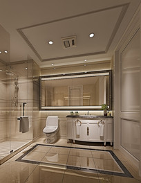 现代简约洗手间客厅3D模型