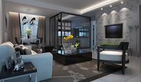 现代中式混搭客厅3D