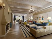 小清新室内家装客厅3D模型