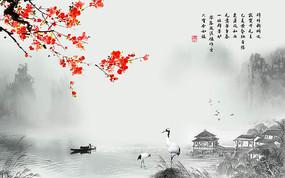 中國風梅花山水背景墻