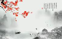 中国风梅花山水背景墙