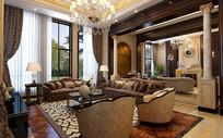 中式古典贵族室内客厅3D