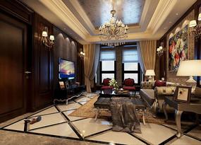 中式古典室内客厅3D