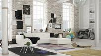 砖砌墙面现代客厅3D模型