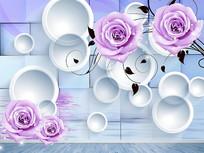 紫色浪漫玫瑰花圆圈3D背景墙