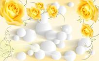 浪漫黄玫瑰圆球3D背景墙