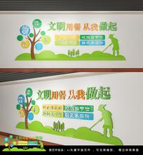绿色卡通学校食堂文化墙