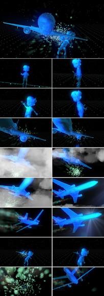 男孩放飞梦想飞机视频片头素材