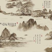 新中式国画山水背景墙