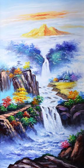 高清手绘高山流水瀑布油画玄关