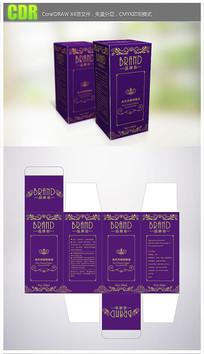 紫色背景欧式花纹精油产品包装