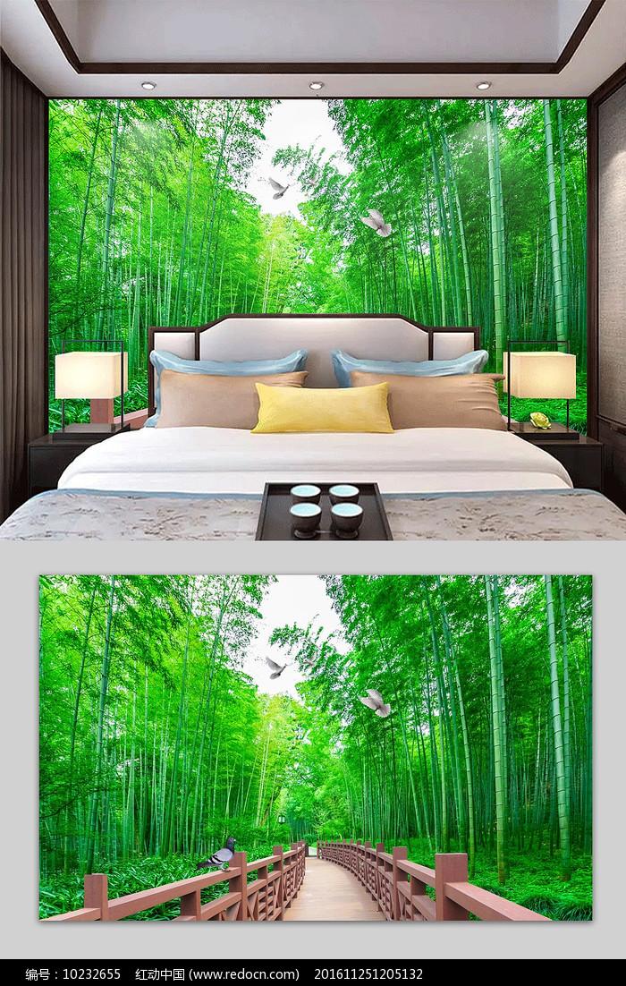 3D风景画清新竹林电视背景墙图片
