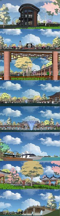 滨湖公园景观su模型