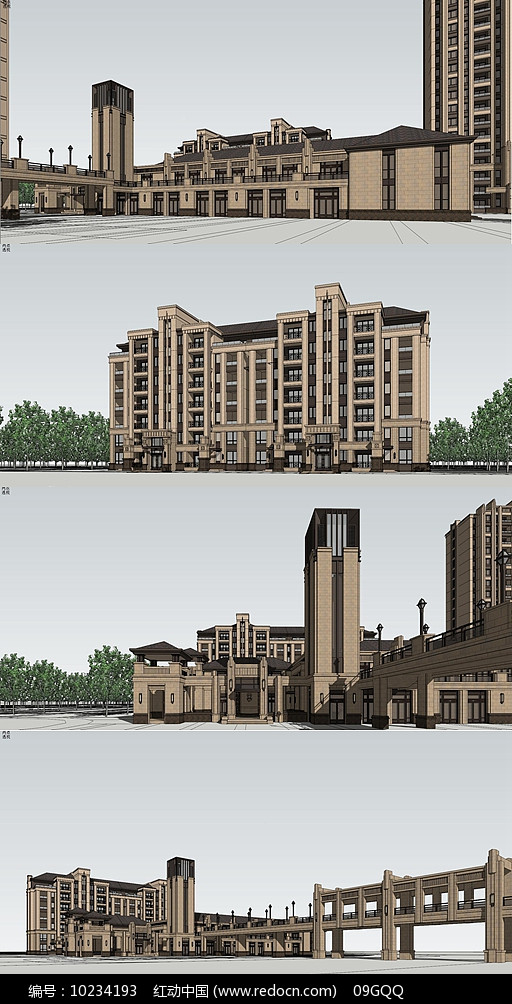 欧式住宅区建筑su模型图片
