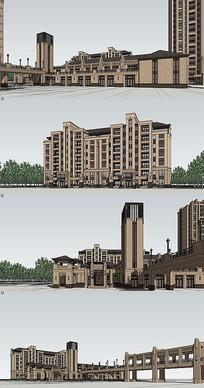 欧式住宅区建筑su模型