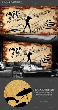 复古KTV音乐背景墙墙画