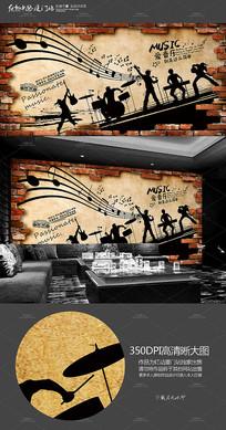 复古KTV音乐背景墙墙画展板