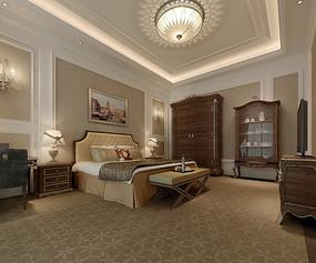古典元素家装室内卧室3D模型