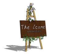 木质花店广告牌