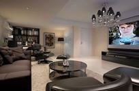 现代简约风黑色沙发客厅3D
