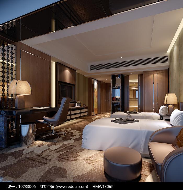现代酒店标准间3D模型图片