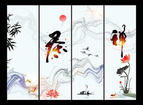 中国风水墨茶文化挂图