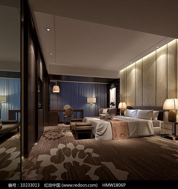 中式高级室内卧室3D模型图片