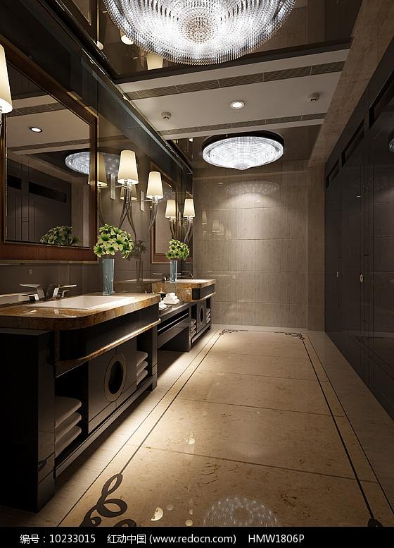 中式古典室内卫生间3D模型图片