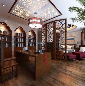 中式古典室内卧室3D模型