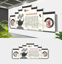 中式屋檐中国茶文化文化墙