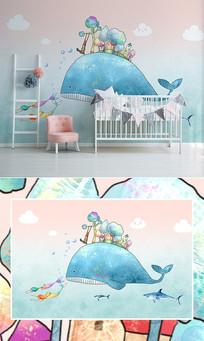 北欧手绘海洋鲸鱼儿童房背景墙