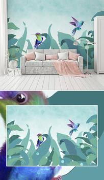 北欧手绘热带植物叶子背景墙