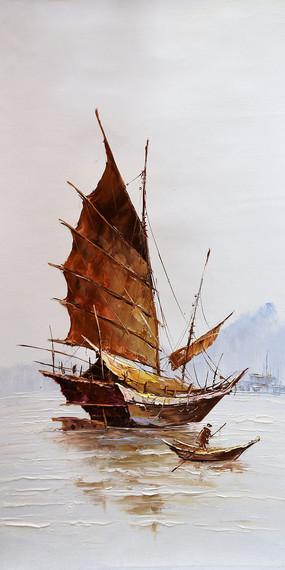 高清欧式帆船渔夫油画玄关