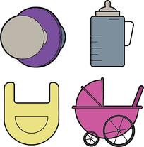 简约婴儿用品插画元素