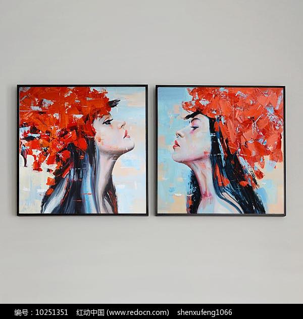 现代女人装饰组合方形油画图片
