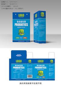 蓝色高端益生菌包装设计