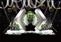 白绿色主题婚礼背景板