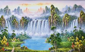 高清手绘高山流水瀑布油画背景墙