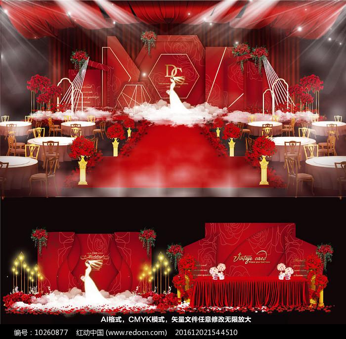 红色高端婚礼婚纱背景板图片