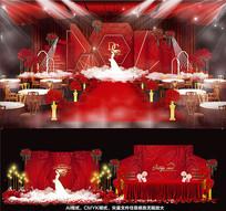 红色高端婚礼婚纱背景板