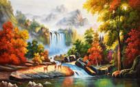 瀑布流水梅花鹿公园油画背景墙