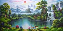 日出梅花鹿瀑布油画背景墙