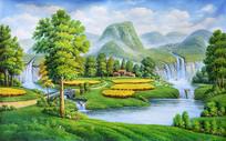 手绘乡村风景油画背景墙