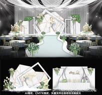 大理石婚礼布置背景板