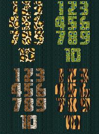 动物肤质1-10数字设计