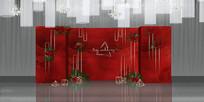 红色系主题婚礼背景板
