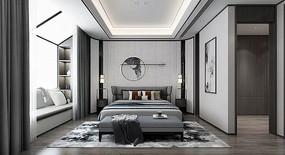 灰色调新中式设计卧室 JPG