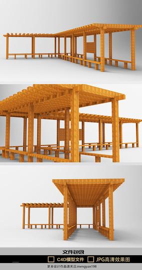户外公园小区走廊模型