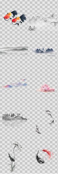 水墨画山水图元素