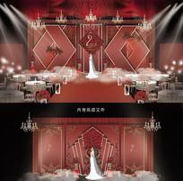 西式红色系婚礼背景板
